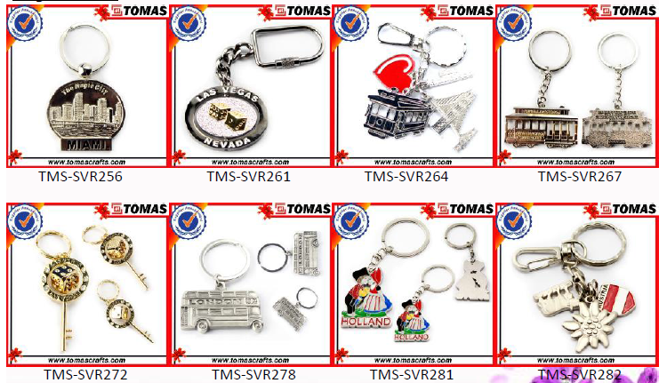 Corrente chave do keychain do metal 3d do costume / Keychains de borracha macio / Keyring do silicone