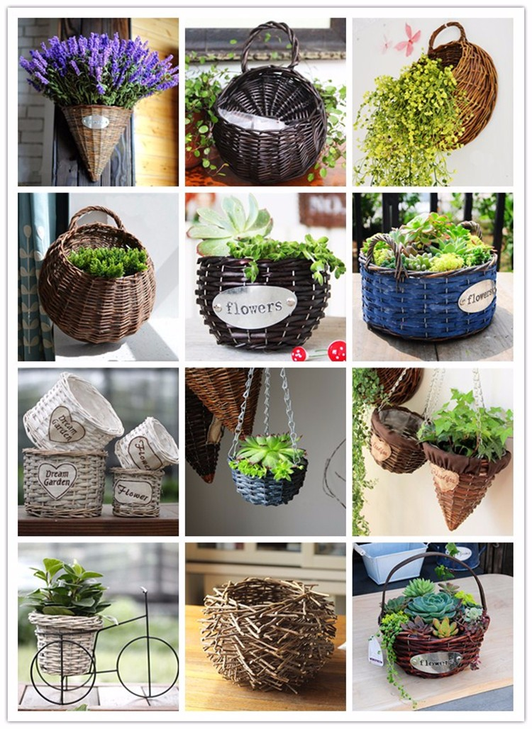 Flower Baskets Decoration : Hanging decoration craft wicker flower basket buy