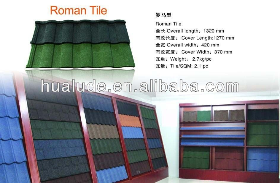 China Made Sun Stone Coated Metal Roof Tiles -Roman Tile