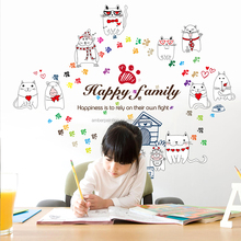 Kids learning cat wall decals glowing dinning room for kids