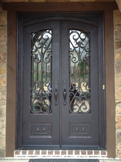 Wrought iron double arched top entry door prehung door gyd 15d0354 buy wood wrought iron entry - Arch main door designs ...