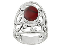 Artisan Collection Of Taxco Oval Red Jasper Sterling Silver Ornate Scroll Ring