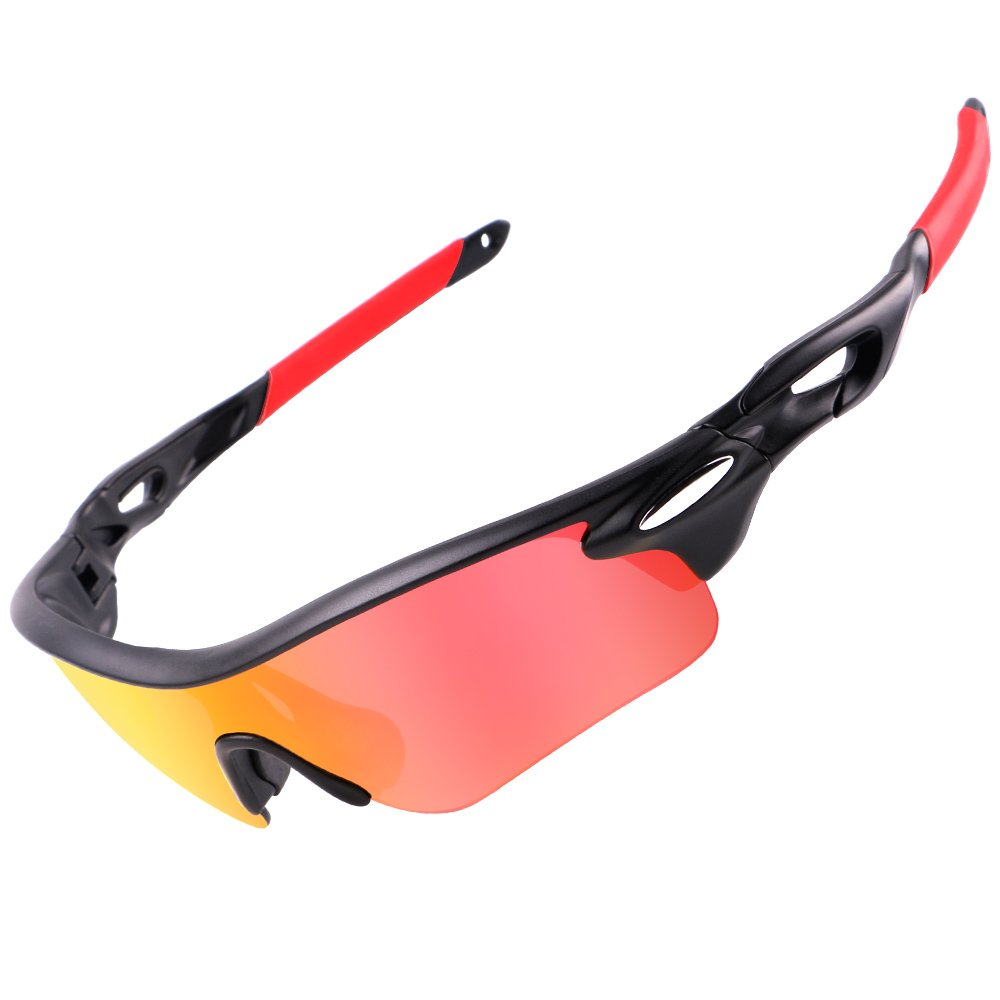 c0c428f109 Cyrusher Polarized Sports Sunglasses with 3 Interchangeable Lenses for Men  Women Cycling