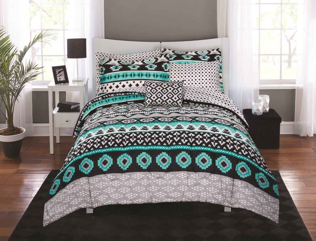 N2 8 Piece Grey Bright Teal Aztec Comforter Queen Set, Black Gray White Tones Southwest Bedding Geometric Tribal Motifs Pattern Indian Native American Design Southwestern, Polyester