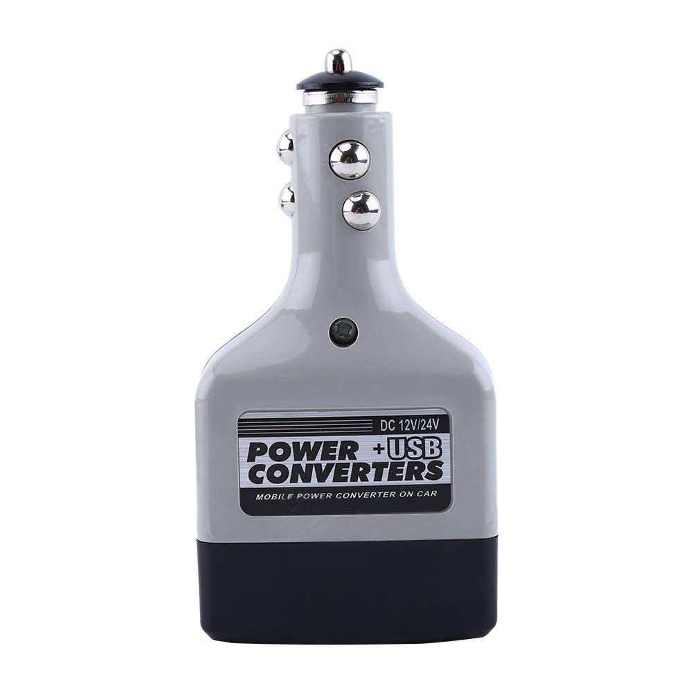 Car Converter - Universal 12v/24v to 220V Auto Car DC to AC Power Converter Adapter, USB Outlet Charger