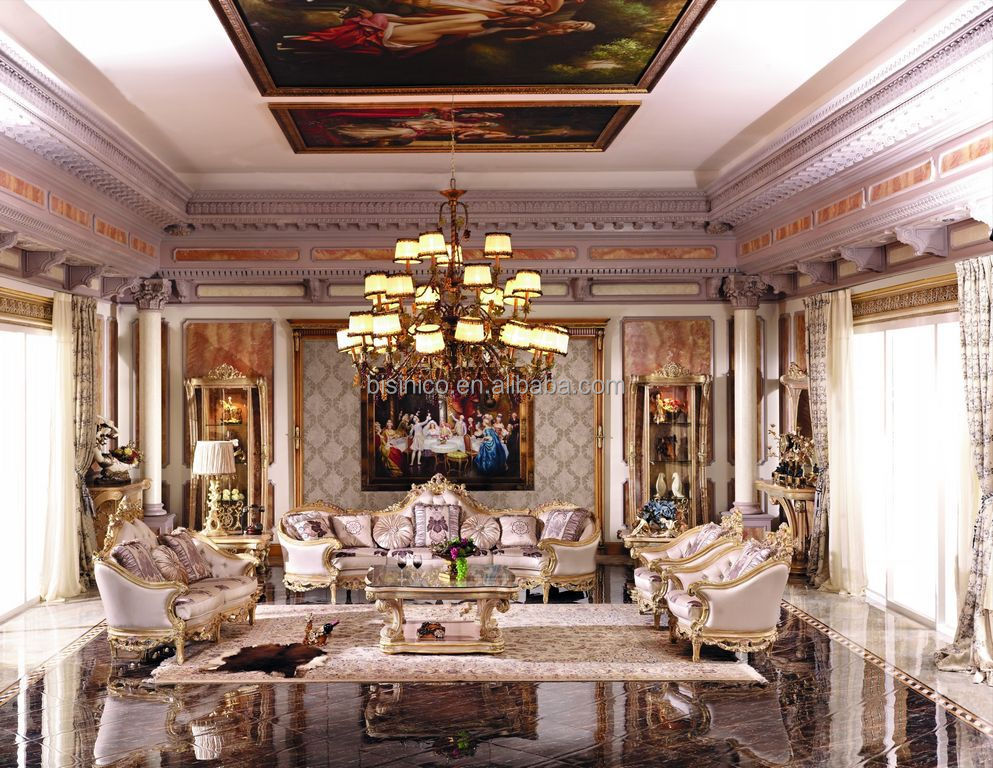 Luxury french baroque style living room furniture sofa set - Meuble tv style baroque ...