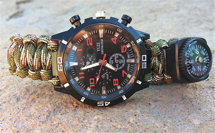 Low price high quality compas flint survival bracelet watch