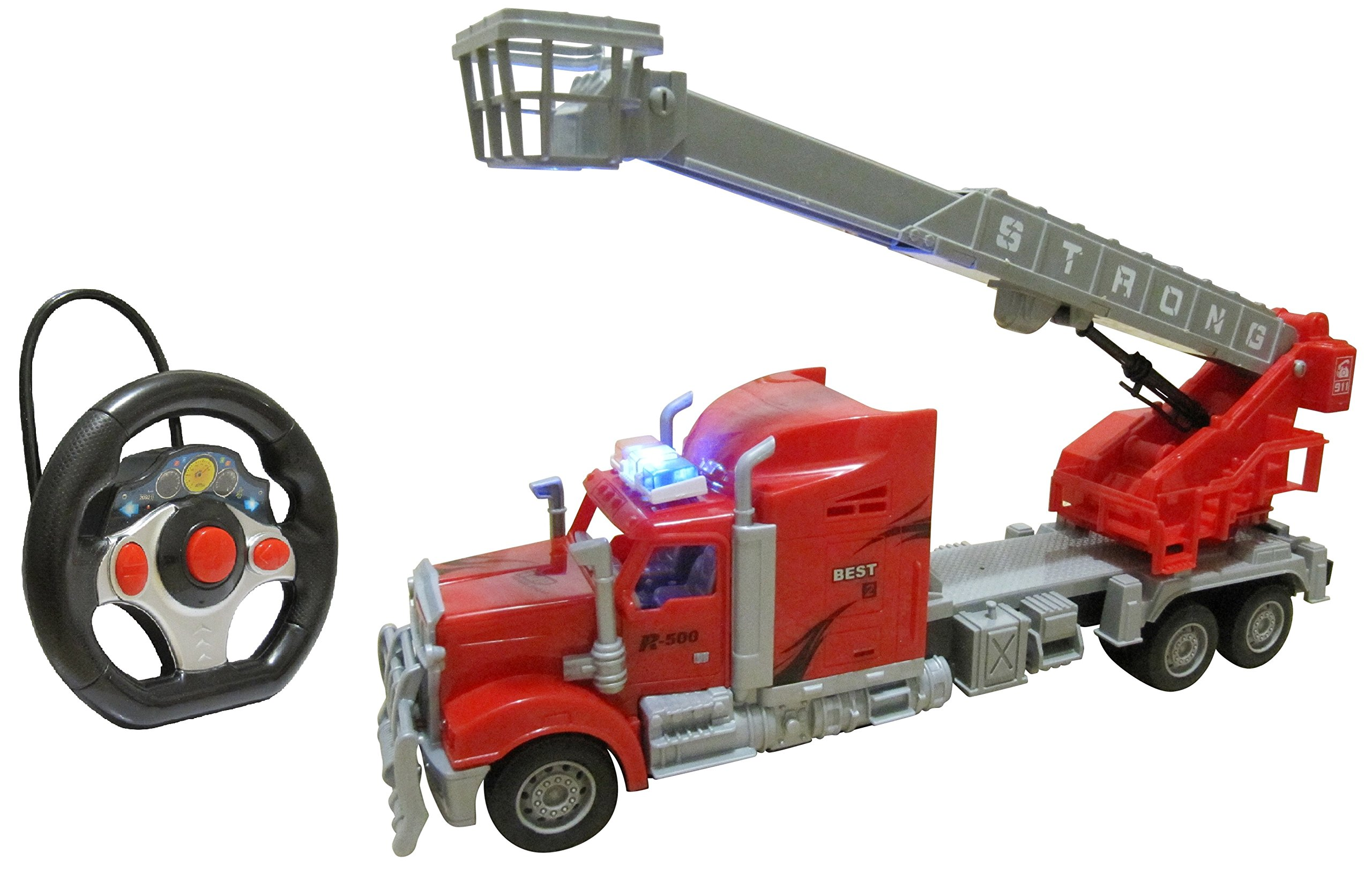 Remote Control Toy Fire Fighter Truck - RC Fire Engine Rescue Truck Toy For Boys - With Lights