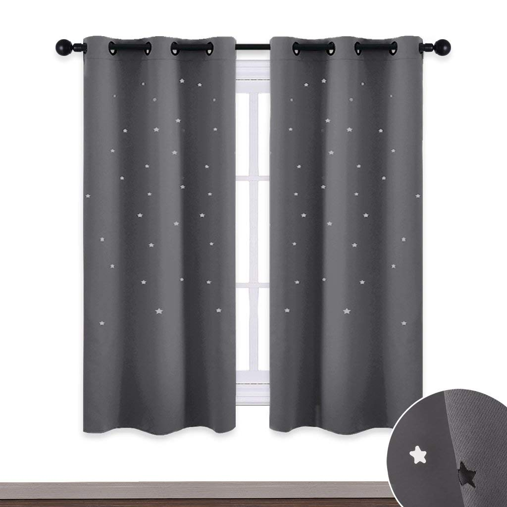 Get Quotations · NICETOWN Star Kids Blackout Curtains   Star Shaped Cut  Outs Room Darkening Drapes For Kids Room