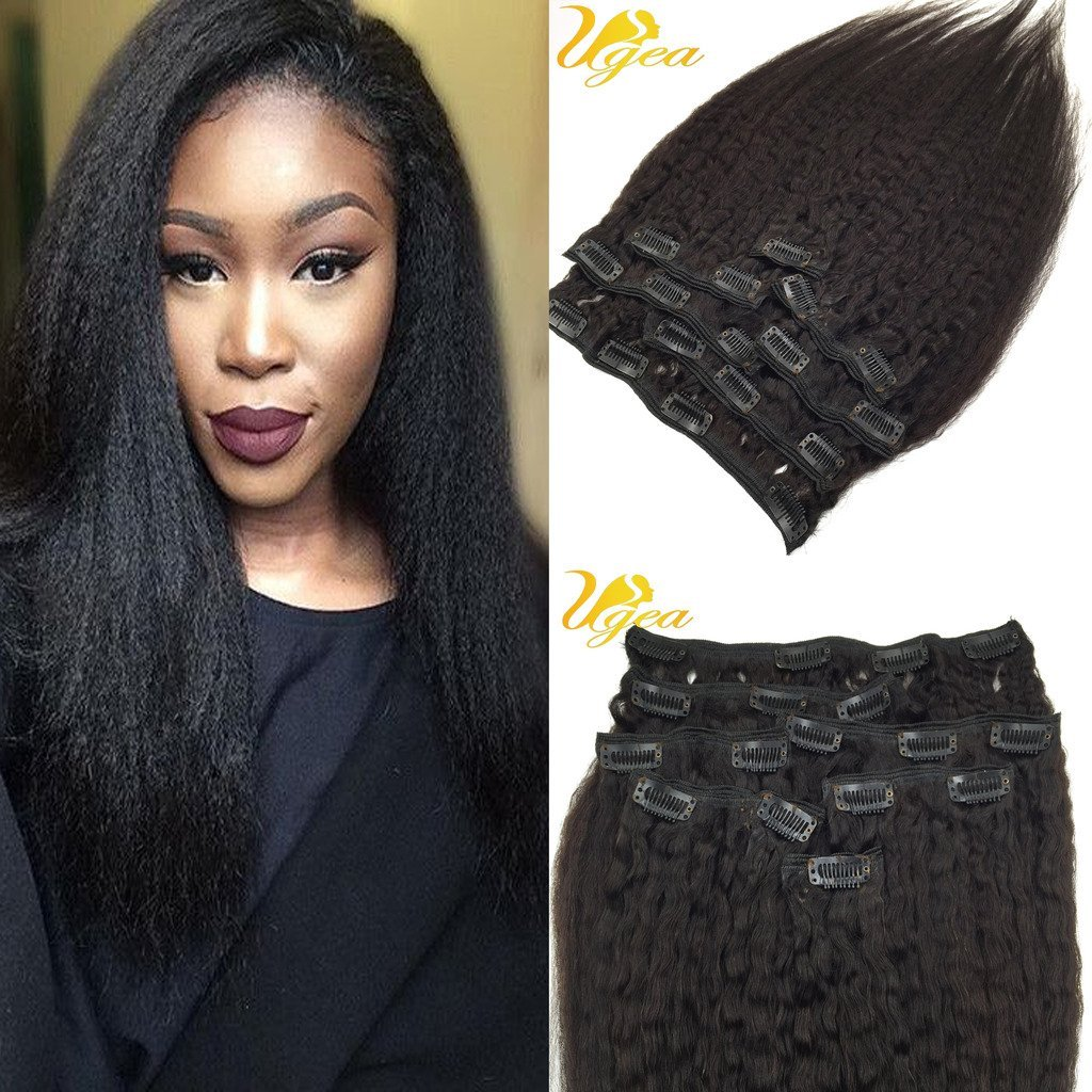 Buy Ugea 16inch 7pcs Yaki Clip In Extensions Kinky Straight Clip In