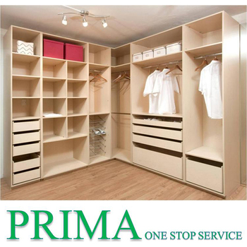 Curved Design Home Wardrobe White Wooden Closet Organizers For Small Closets