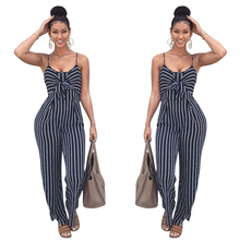 Zomer Nieuwe Blauwe Bodycon Backless Streep Jumpsuits <span class=keywords><strong>Vrouwen</strong></span> Sexy Party Clubwear Jumpsuits Casual Bowtie Overalls <span class=keywords><strong>Jumpsuit</strong></span> Plus Size