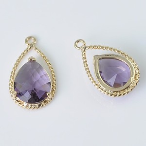 New Arrival Imitation zircon Gold Plated Bezle amethyst Gemstone Pendant Jewelry Wholesale 12.5*19.6MM