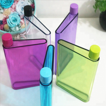 Flat Water Bottle >> Plastic A5 Size Notebook Water Bottle Portable Flat Water Bottle