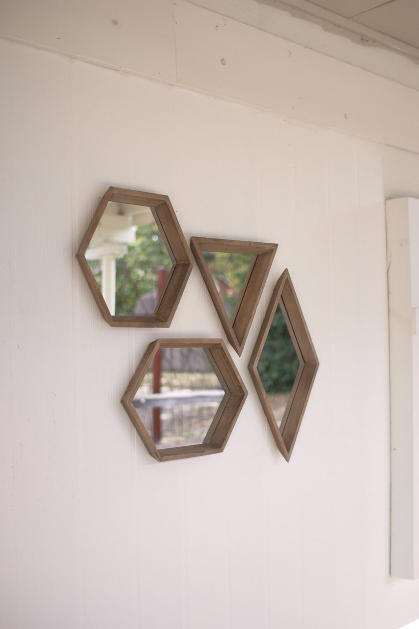 Get Quotations · SET OF FOUR WOOD FRAMED GEOMETRIC MIRRORS