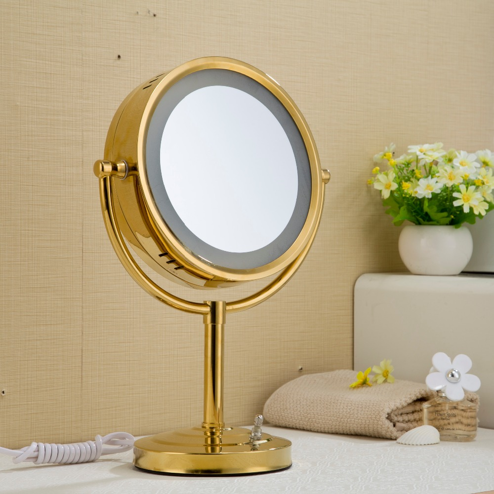 FUAO Round Silver Magnifying Makeup Desk Cosmetic Mirror