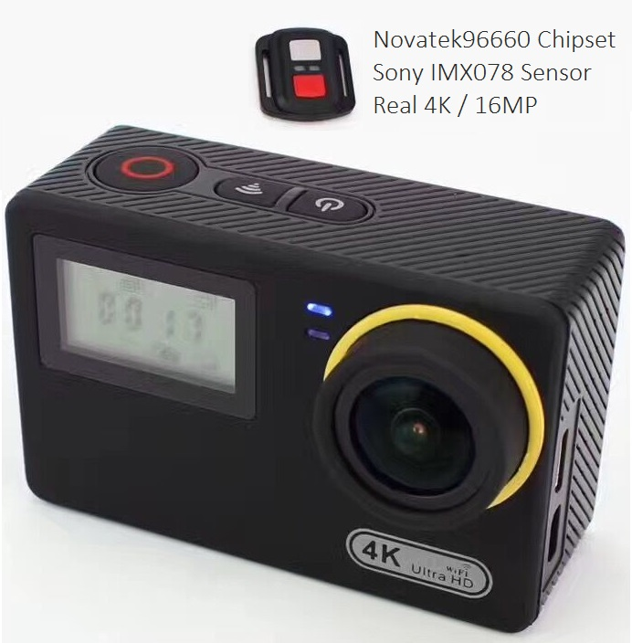 Direct factory price Novatek 96660 dual screen 16MP image Mini Remote control waterproof Sports Action camera 4K for Custom Logo