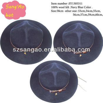 wholesale Navy blue kids large brim cowboy hat for Children or men100%wool 9c4da29ae46