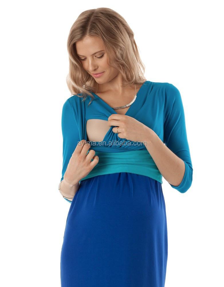 Turquoise Colour Block Nursing Dress Wholesale Maternity Wear ...