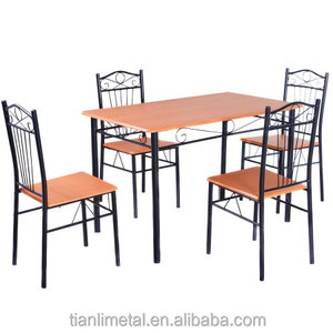 Popular contemporary style wooden metal 4 chairs dining room set