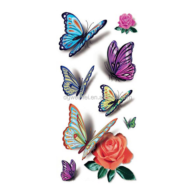 3D Colorful Butterfly Tattoo Sleeve Waterproof Temporary Butterfly Tattoos Women Sexy Body Art Stickers