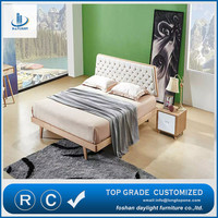 2016 Newest Popular Nordic Style Design Bed With Fabric Frame King Nail Bedroom