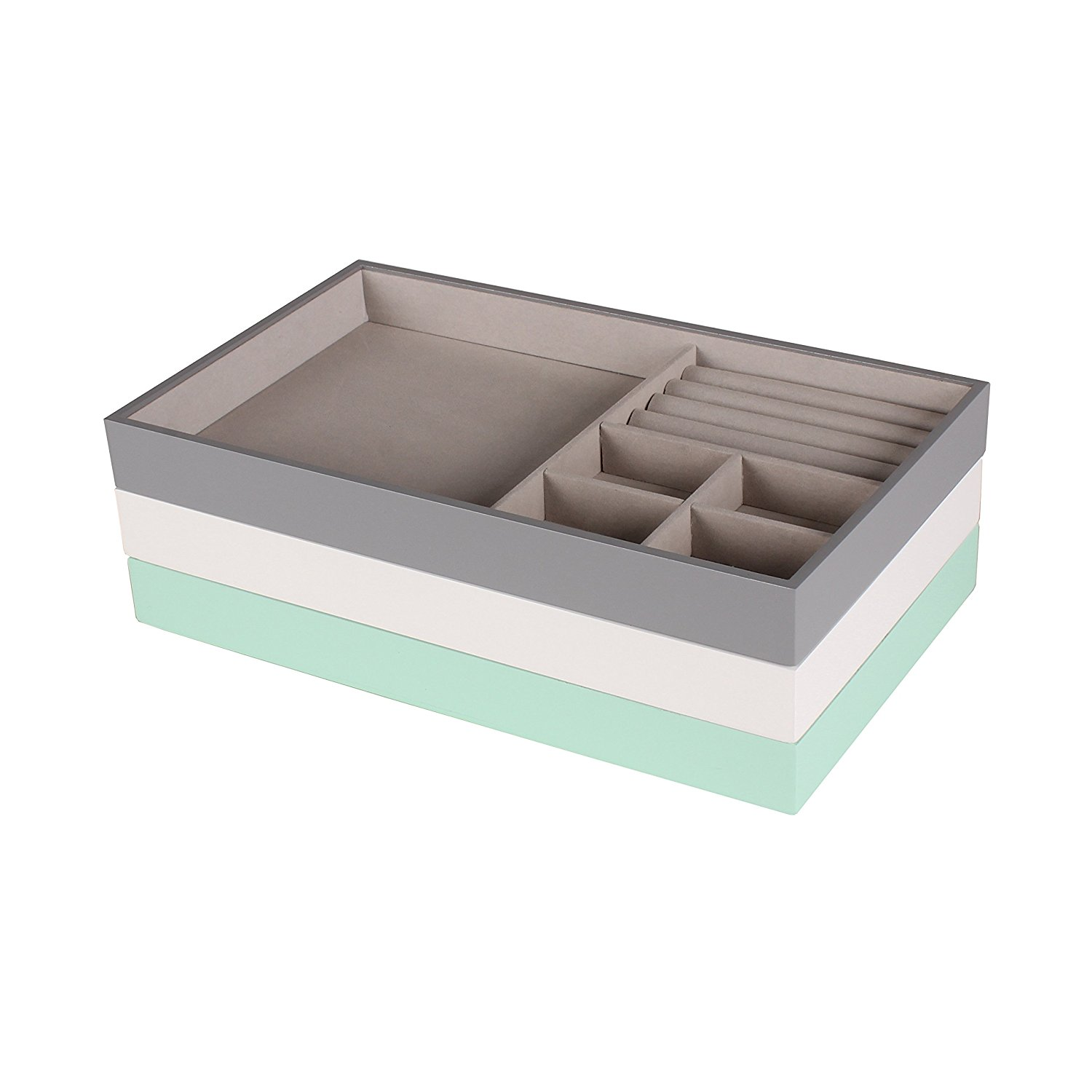 Kate and Laurel Myrcella Jewelry Storage Stackable Trays, Set of 3, Mint Green, Gray, and White