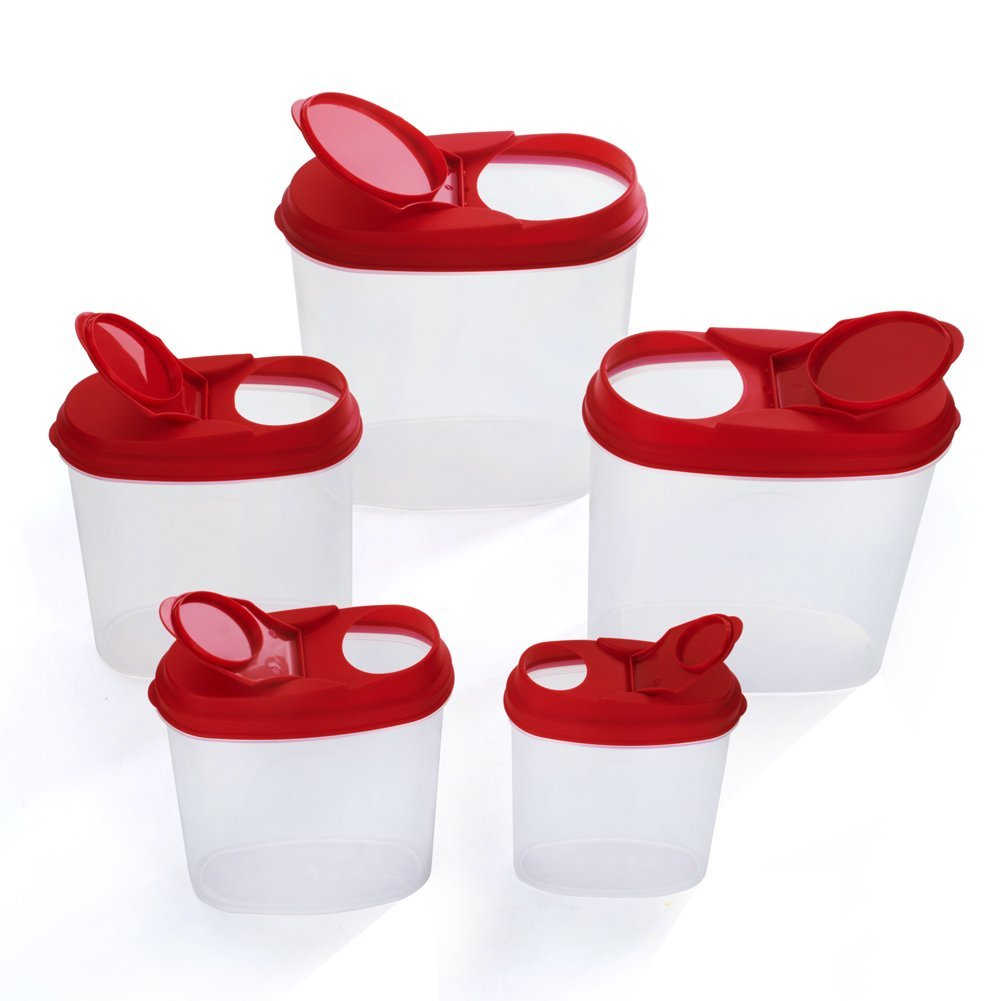 Different Size 5 Piece Plastic Cereal Container Dry Food Dispenser Storage Keeper Set