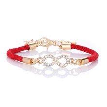 Гламурный женский красный регулируемый браслет из веревки, браслет в классическом стиле с цифрой 8(Китай)