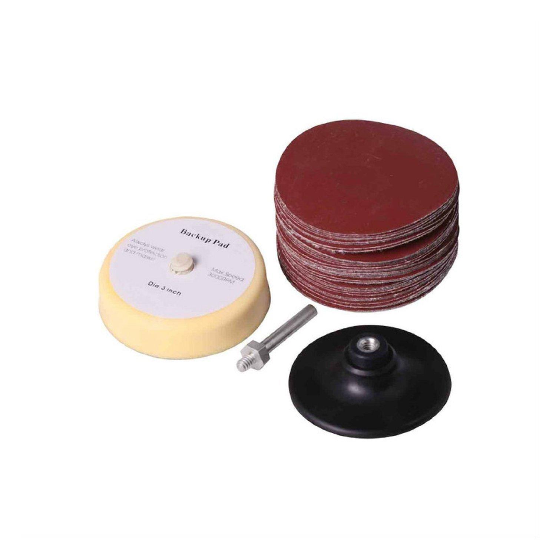 SPTA 3inch(75mm) Sander Disc Anding Sanding Pad Sanding Disc & Polishing Pad +Roloc Backing Pad Pack of 50Pcs