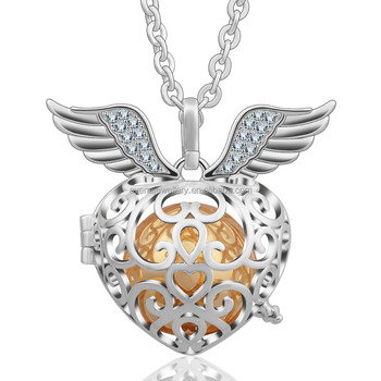 925 sterling silver angel wing with crystal heart locket harmony 925 sterling silver angel wing with crystal heart locket harmony balls pendant mexican bola jewelry wholesale aloadofball Image collections