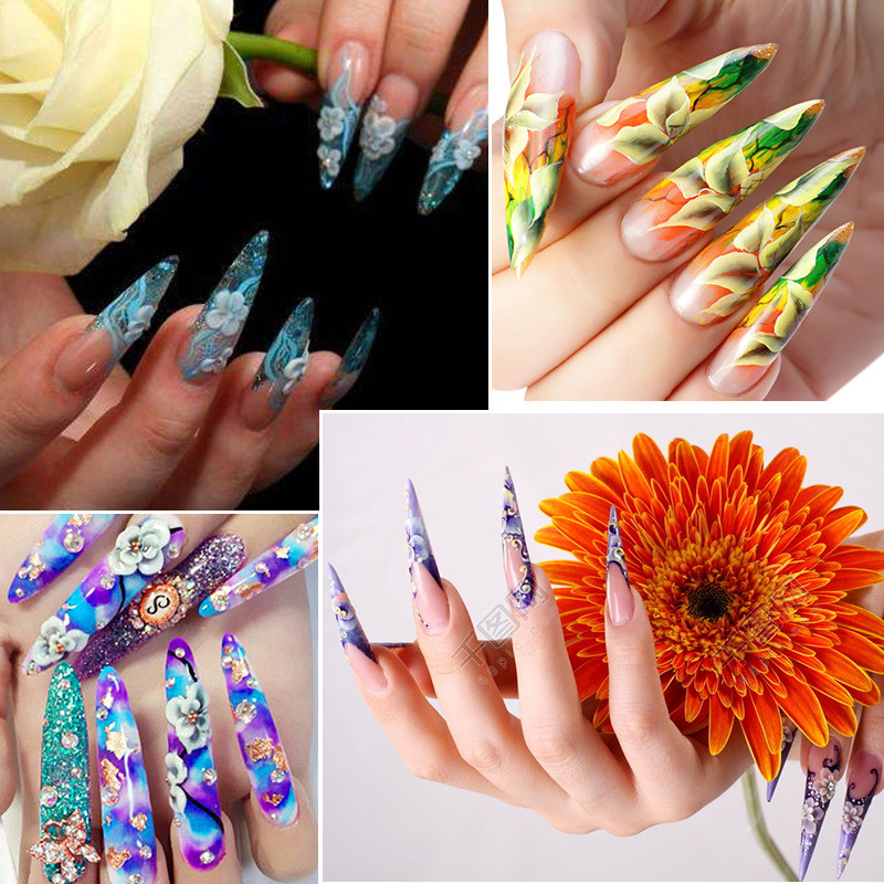 professional 240pcs/bag clear long sharp 3 colors artificial false nail tips for nail art