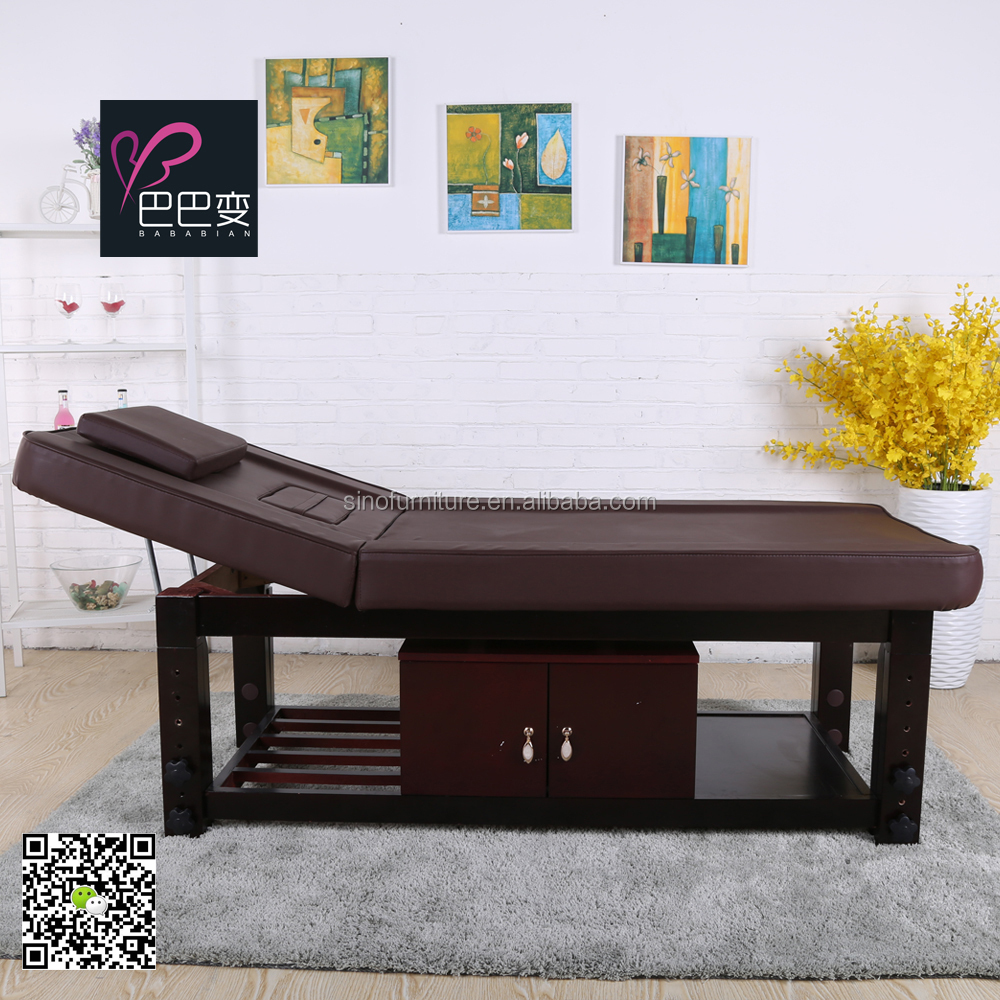 Luxury wooden Height Adjustable stationary Salon spa massage bed table