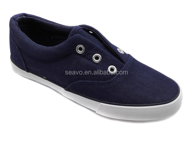 Seavo Classic Plain Design No Lace Textile Upper Navy Boys ...