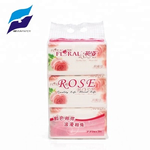 beatuiful rose design soft pack pink facial tissue with virgin wood pulp or custom