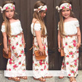 2016 Summer Girls Clothing Set T shirt dress scarf 3pcs set floral collar lace suit children