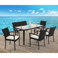 6 piece home gathering rattan dining room armchair bench sets modern restaurant furniture