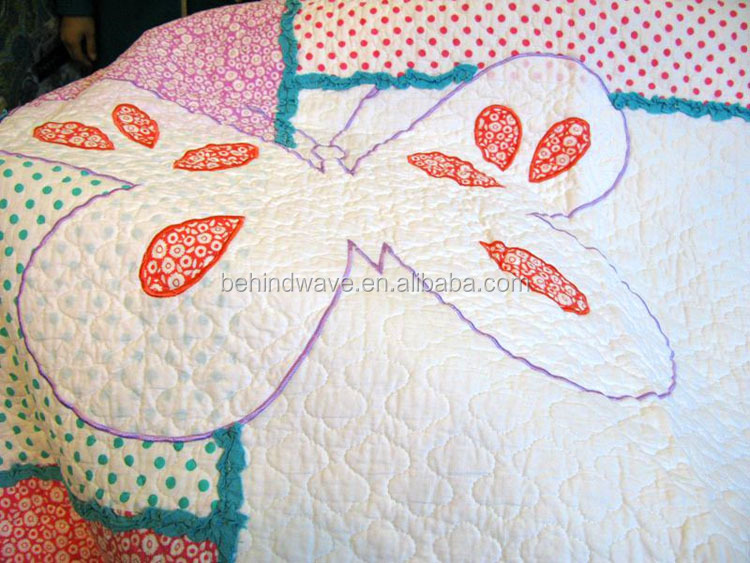 Applique Birds And Butterfly Embroidery Design Bed Sheet