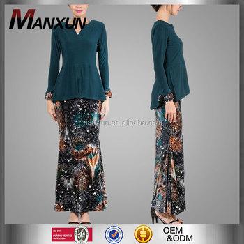 Hotsale Elegant Baju Kurung Islamic Abaya Maxi Dress Simple Muslim Clothing Long Dress Peplum Midi Kurung In Emerald Green View Peplum Mermaid Baju