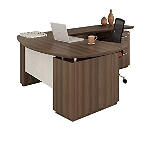 """Mayline 66""""W L-Shaped Desk 66""""W X 78""""D X 29.5""""H (Return Side 78"""" - Overall Depth 84"""") Comes With 2 Pedestals - Textured Brown Sugar - Left Return (Right Shown)"""