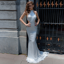 FL392 mermaid style long train silver sequin sexy long evening dress