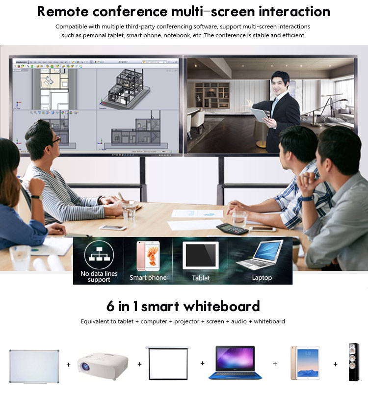 Portable 75 inch IR touch screen USB smart digital vision interactive whiteboard for conference / classroom