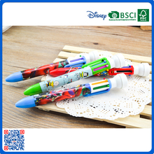 6 color fashion plastic green ball pens with stamper on top