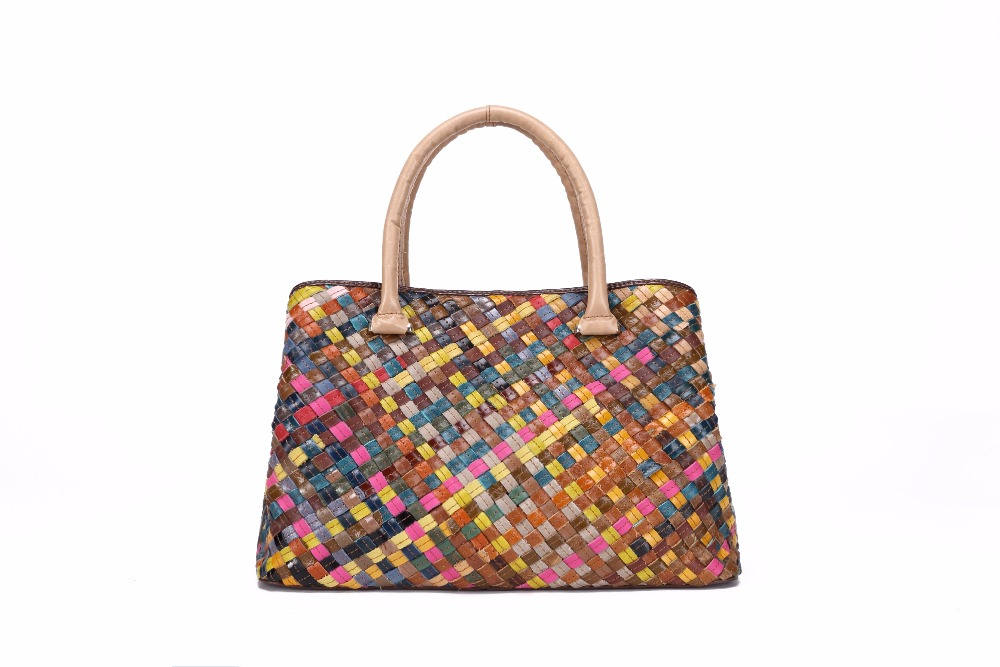 Brand Elegant Big Cow Leather Handbag High Quality Handmade Knitting Genuine Leather Tote Bags For Women G21
