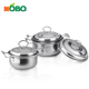 3pcs small cooking pot set with cover/small soup pot /factory Stainless steel pot