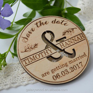 OEM supply Custom carved engraved invitation wooden card for wedding