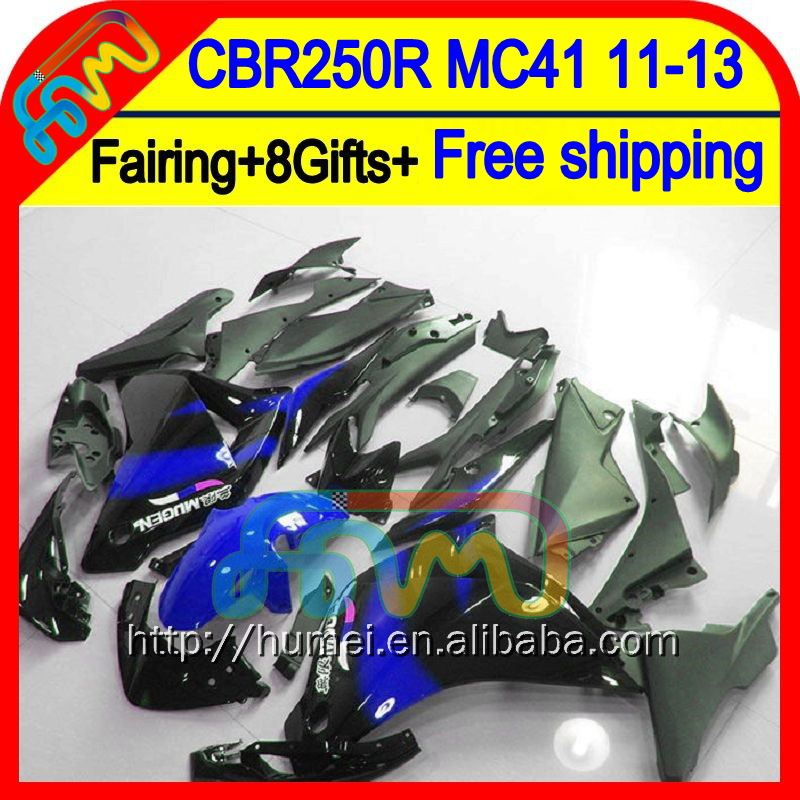 8Gifts For HONDA Injection CBR250R MC41 11-13 61HM30 Blue black CBR 250R CBR250 R 11 12 13 2011 2012 2013 Fairing New black