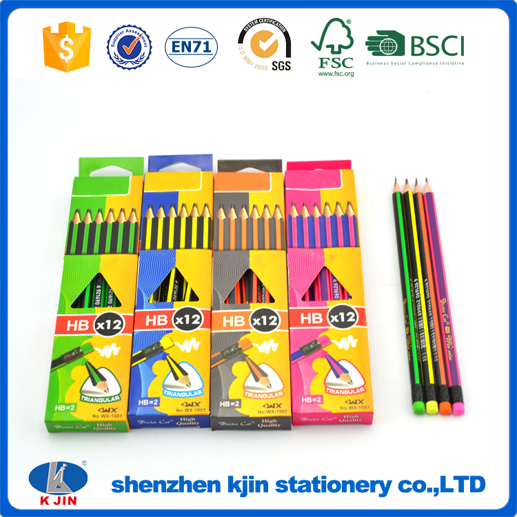 Custom Superb Quality Writing Drawing Sketching Schools' Favourite Pre-sharpened Certified Wood Striped 2HB FSC Pen