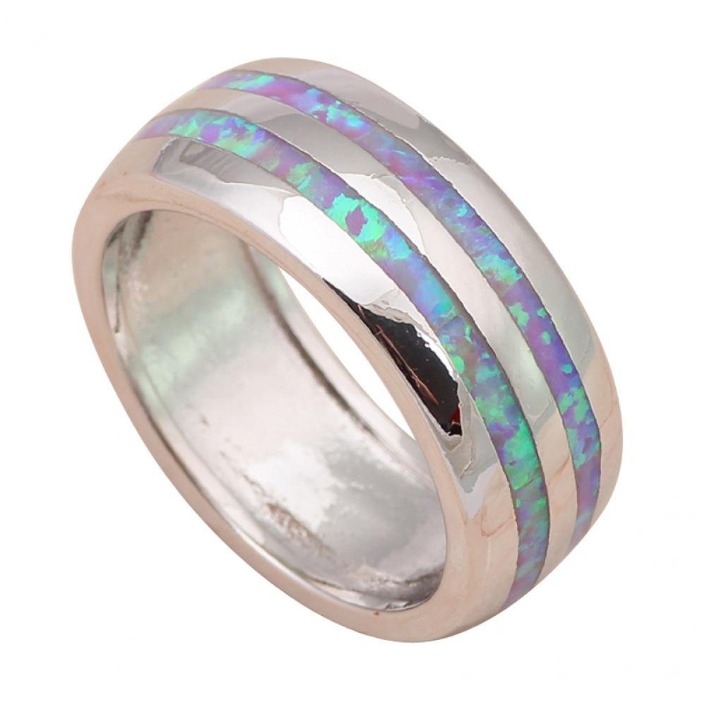 Dancing Zone Simple But Gorgeous Design Purple Fire Opal 925 Sterling Silver Fashion Jewelry Rings For Women Usa Size #6#7#8#9#10 Or661A