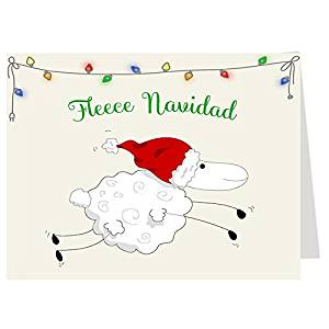 Funny, Christmas Cards, Fleece Navidad, Whimsical Holiday Season Card, Red, Green, Santa, Sheep, Ewe, Set of 24 Printed, Folding Greeting Cards, with White Envelopes,
